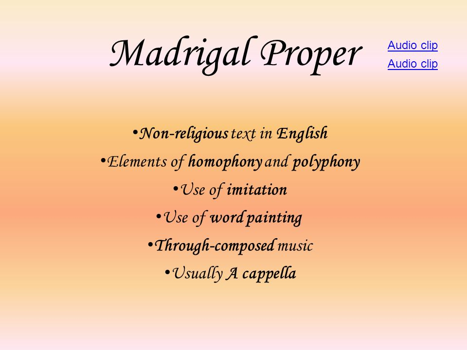 Madrigal Proper Non-religious text in English