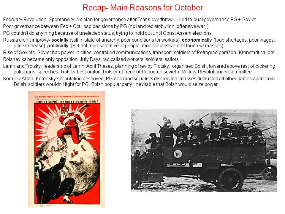 Recap- Main Reasons for October