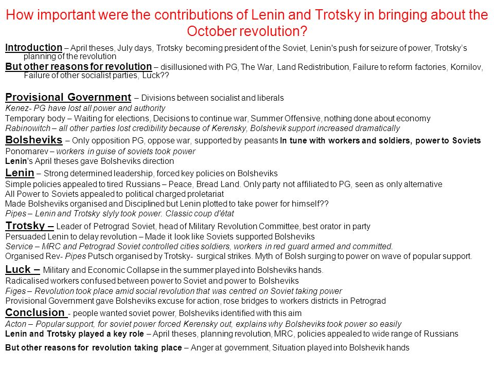 How important were the contributions of Lenin and Trotsky in bringing about the October revolution