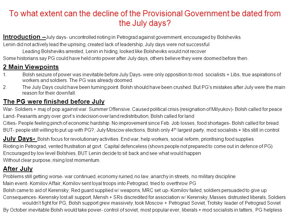 To what extent can the decline of the Provisional Government be dated from the July days