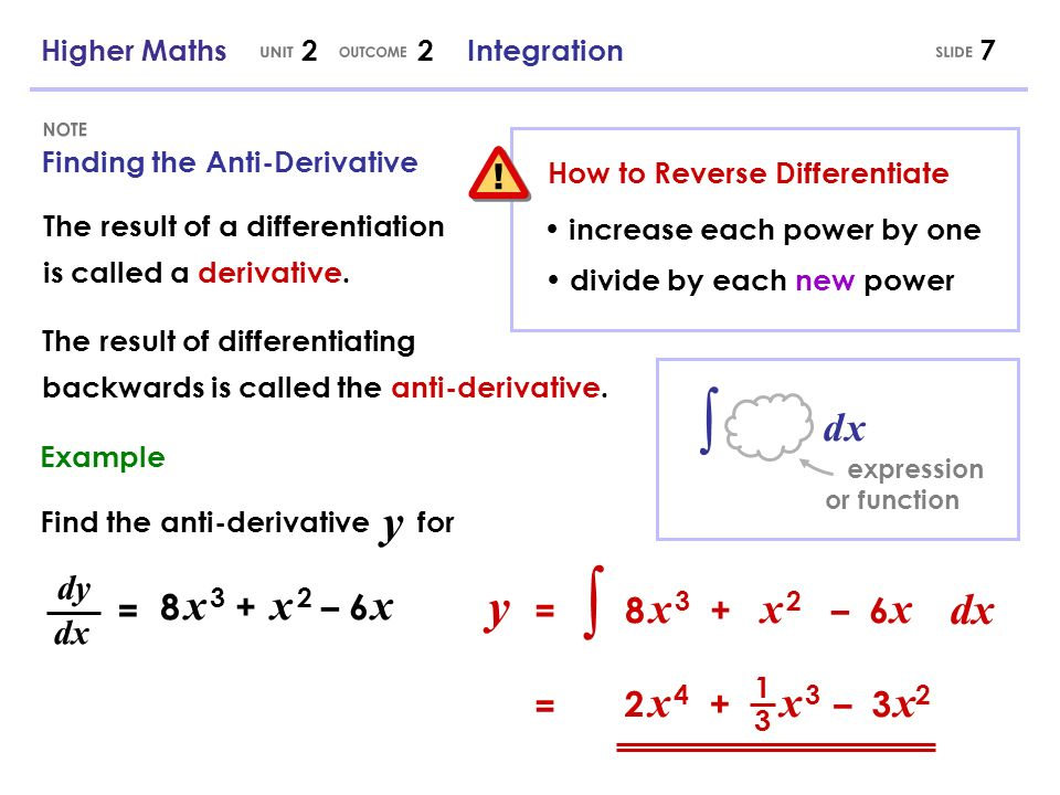 ∫ ∫ UNIT OUTCOME SLIDE NOTE ! y y dx d x dy 8 x 3 + x 2 – 6 x