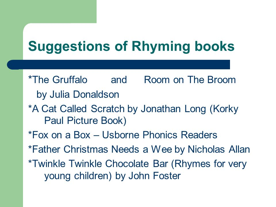 Suggestions of Rhyming books