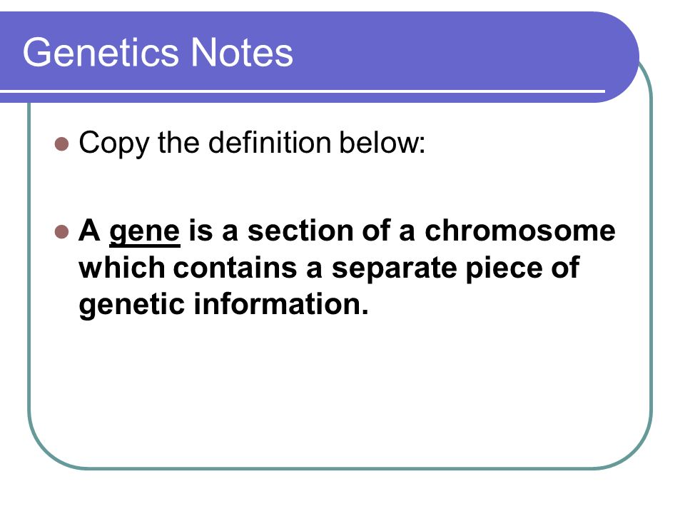 Genetics Notes Copy the definition below: