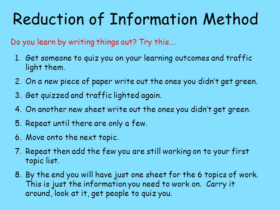 Reduction of Information Method