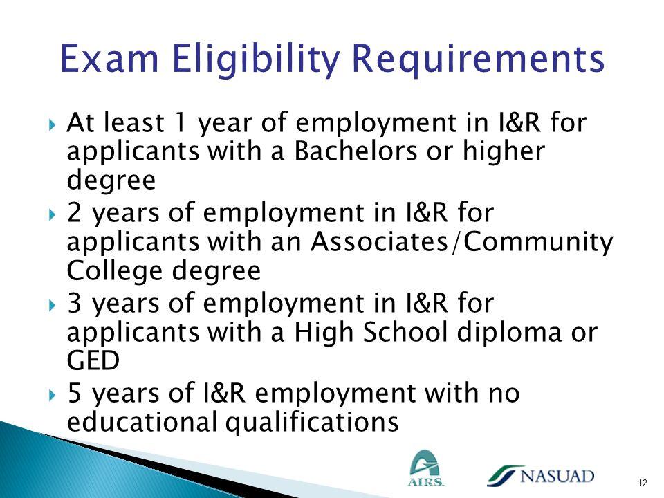Exam Eligibility Requirements