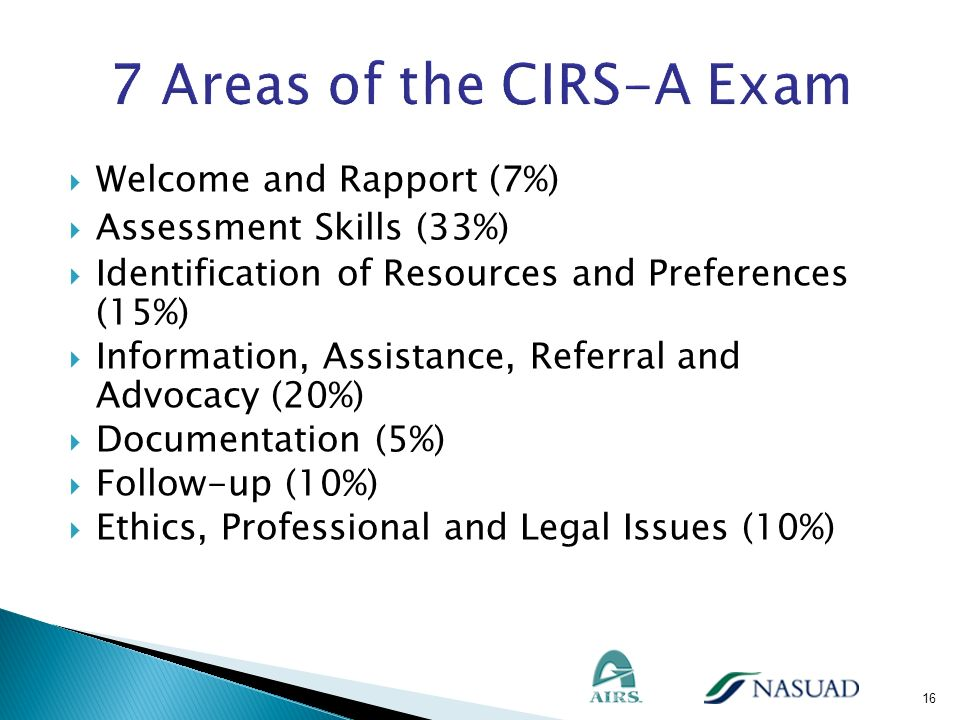 7 Areas of the CIRS-A Exam