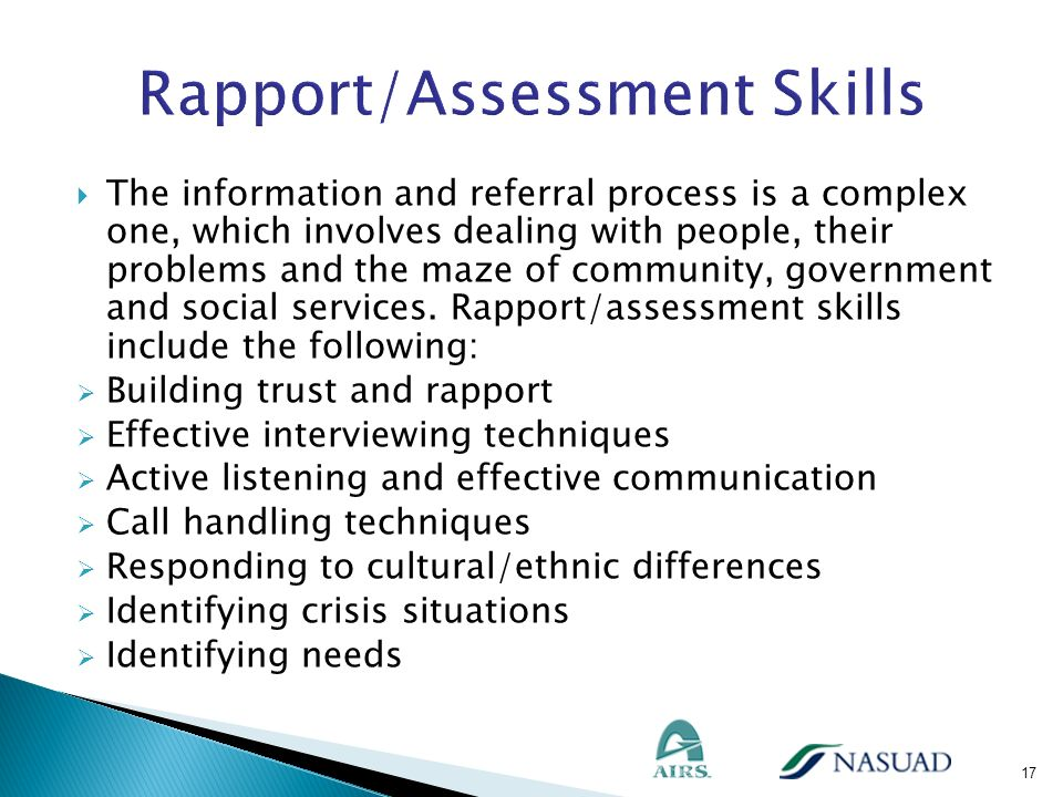 Rapport/Assessment Skills