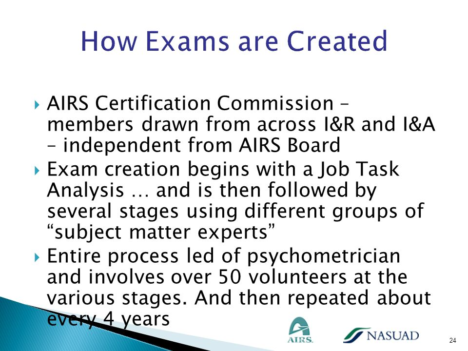 How Exams are Created AIRS Certification Commission – members drawn from across I&R and I&A – independent from AIRS Board.