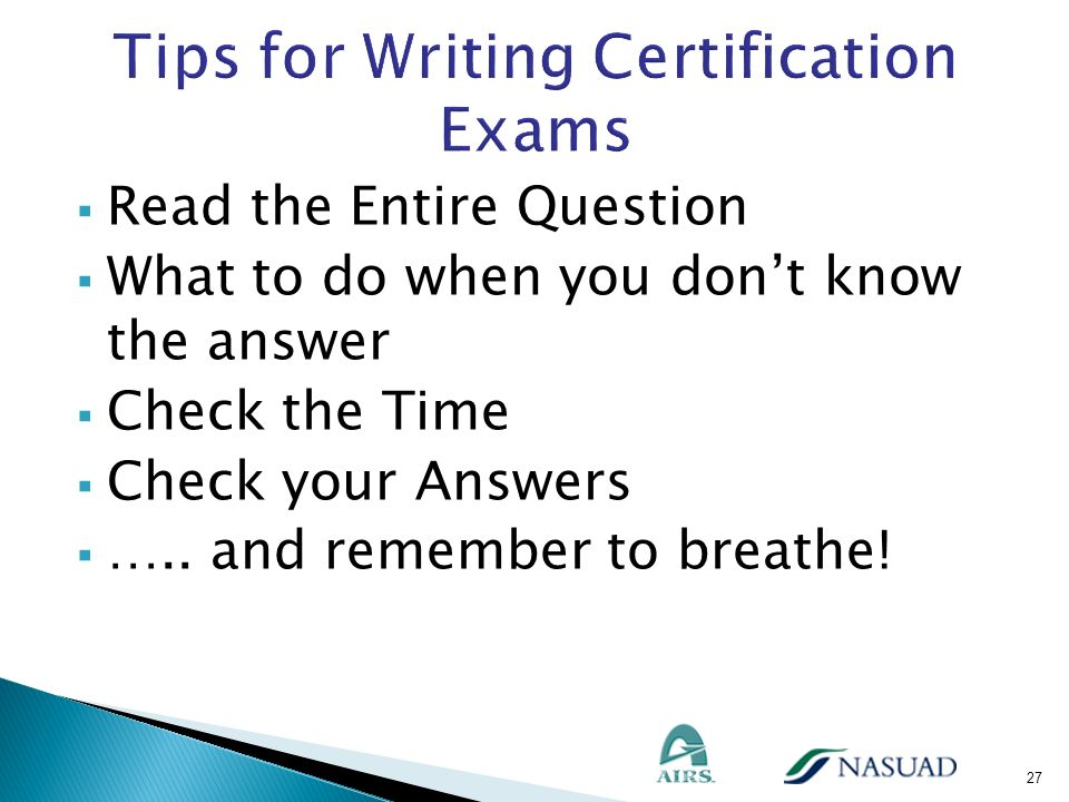 Tips for Writing Certification Exams