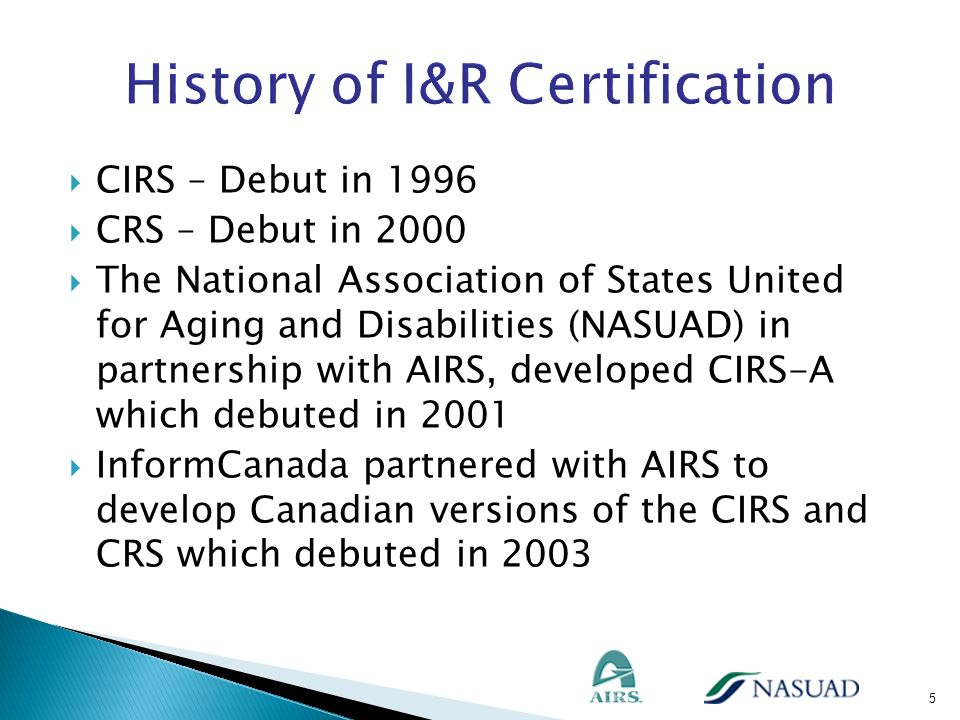 History of I&R Certification