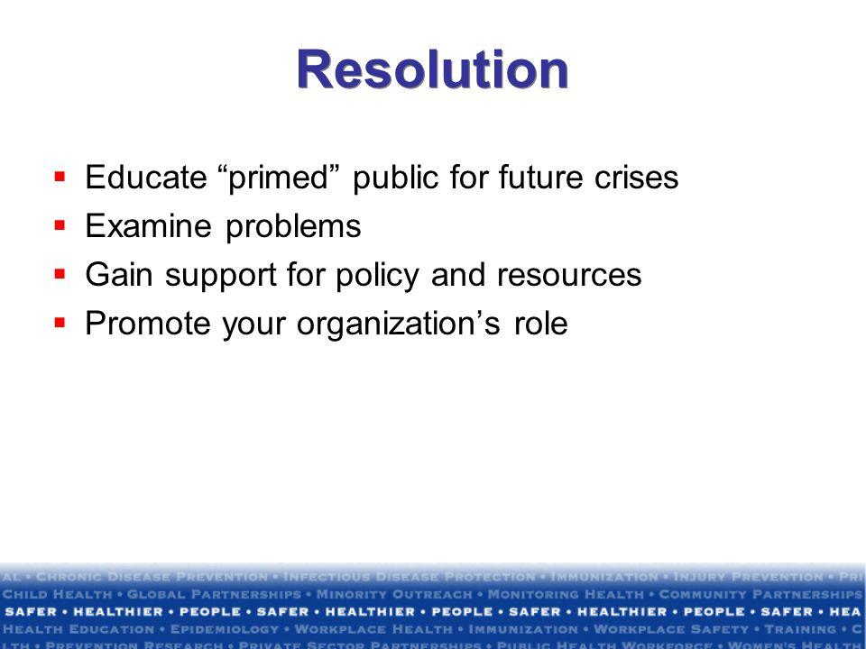 Resolution Educate primed public for future crises Examine problems