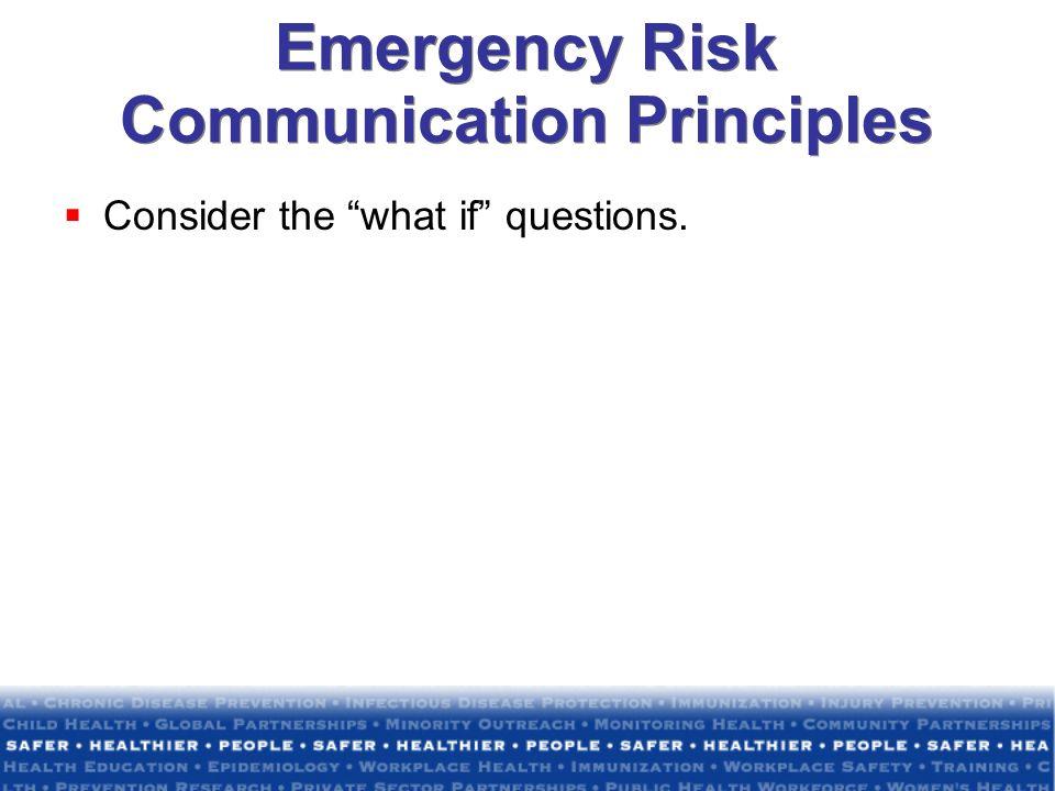 Emergency Risk Communication Principles