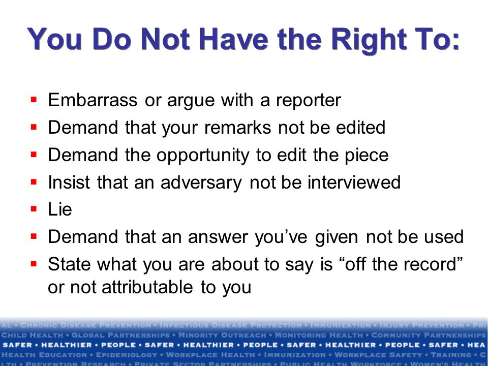 You Do Not Have the Right To: