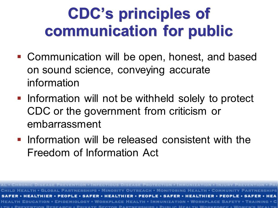CDC's principles of communication for public