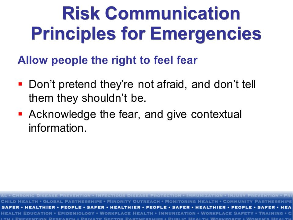 Risk Communication Principles for Emergencies