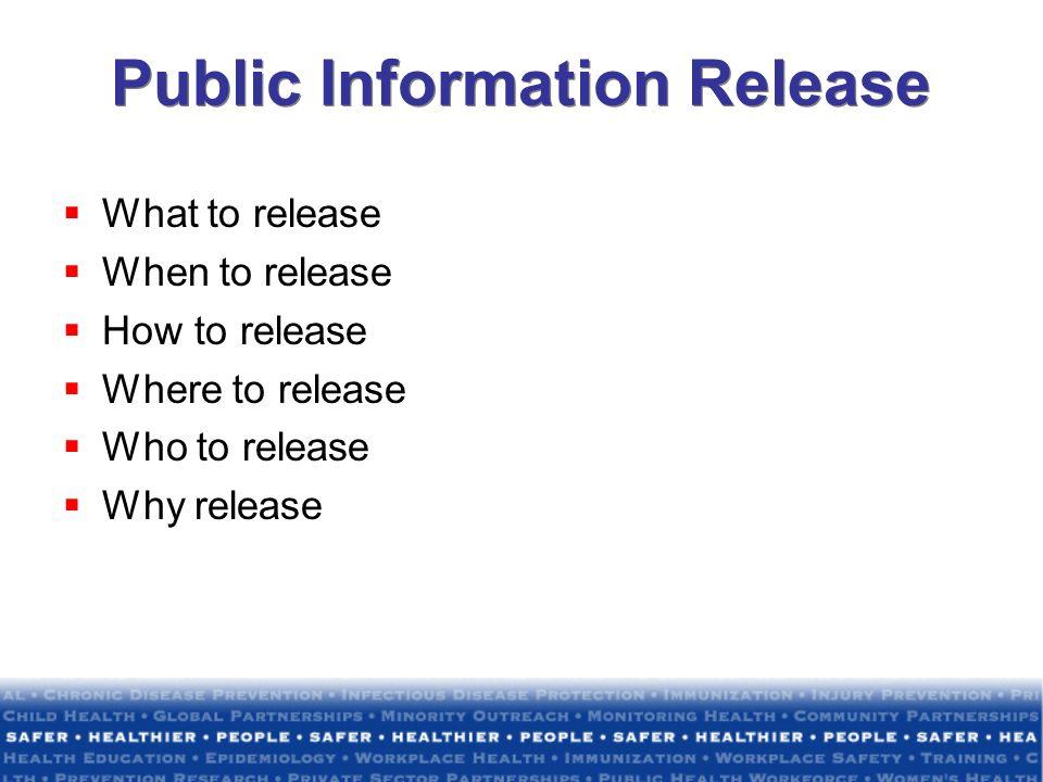 Public Information Release