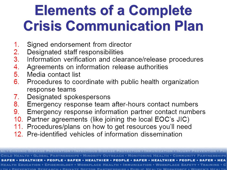 Elements of a Complete Crisis Communication Plan