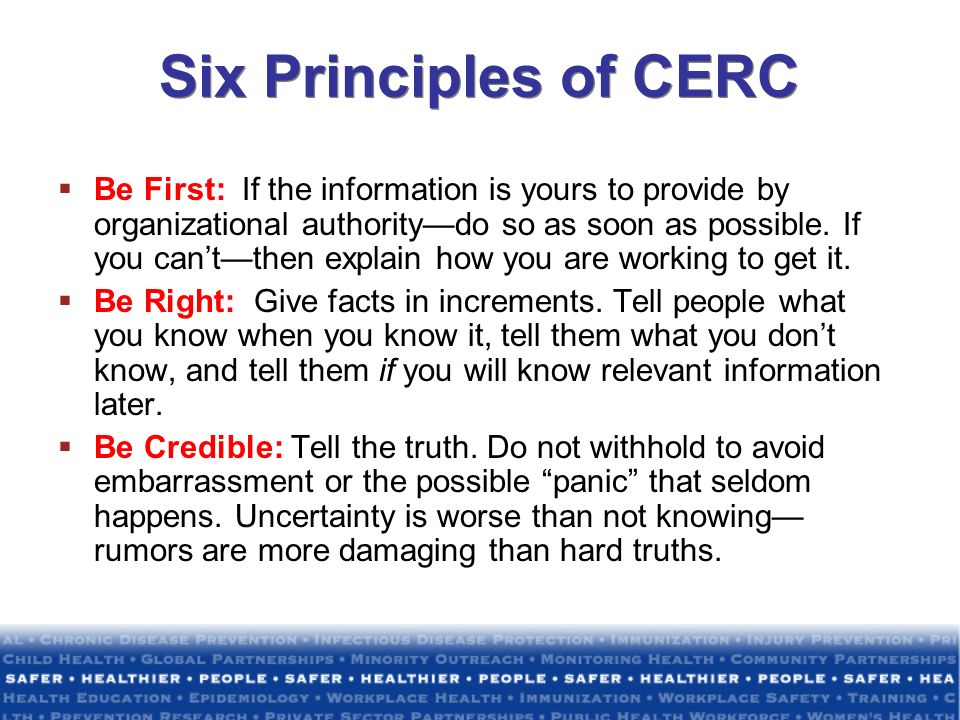 Six Principles of CERC