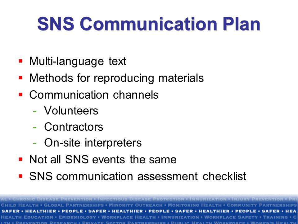 SNS Communication Plan