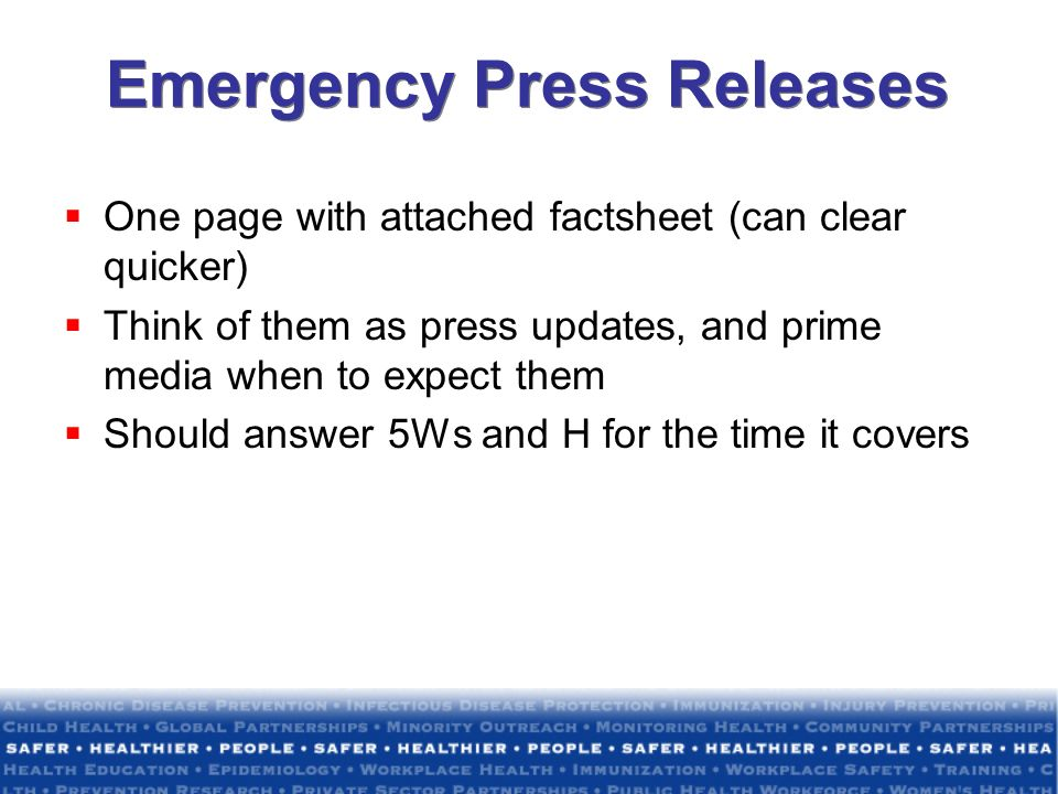 Emergency Press Releases