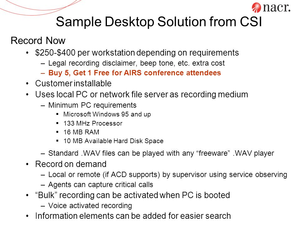 Sample Desktop Solution from CSI