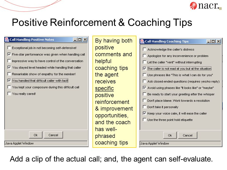 Positive Reinforcement & Coaching Tips