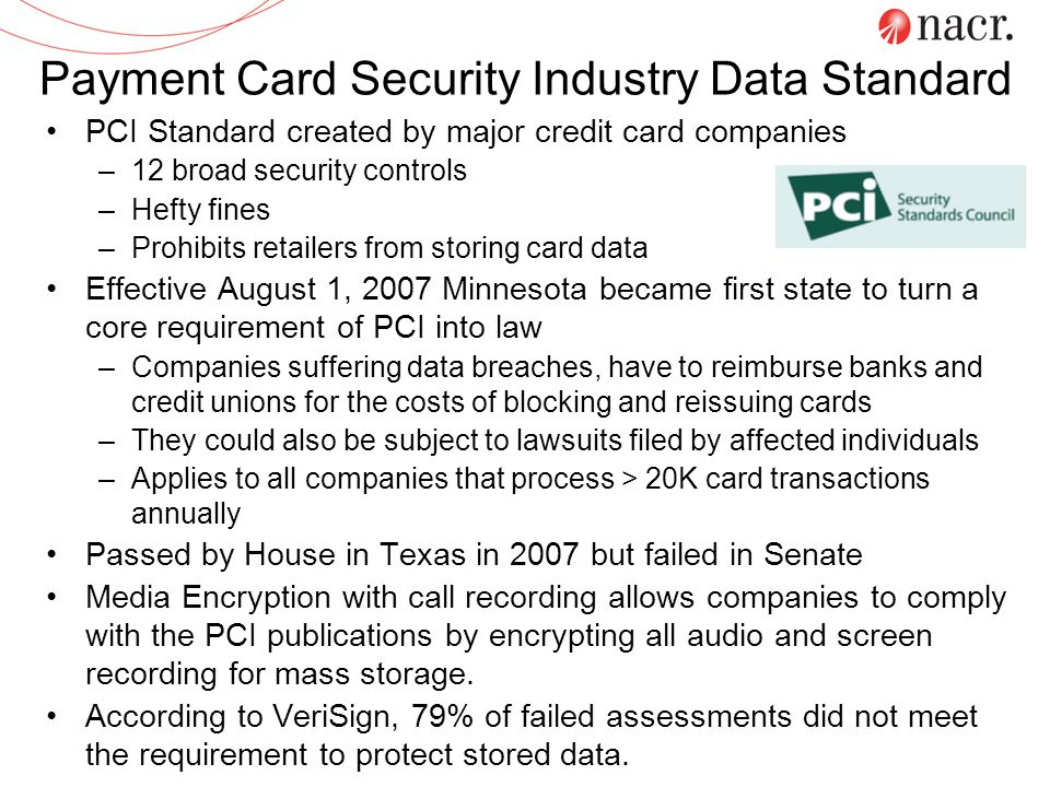 Payment Card Security Industry Data Standard