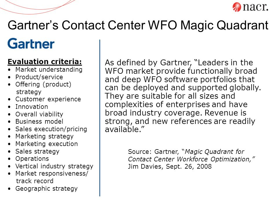 Gartner's Contact Center WFO Magic Quadrant