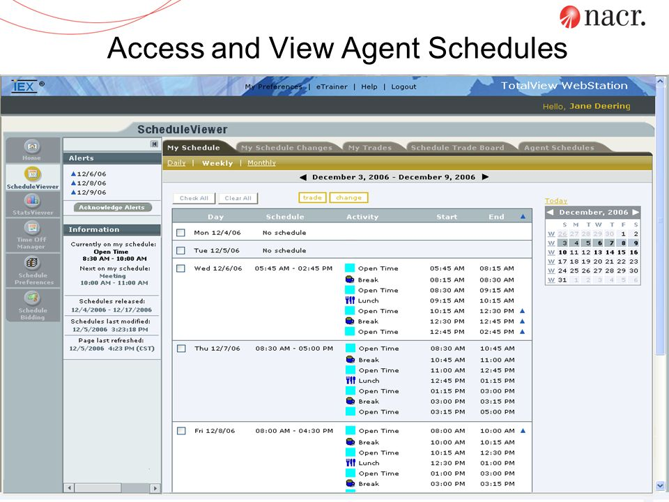 Access and View Agent Schedules