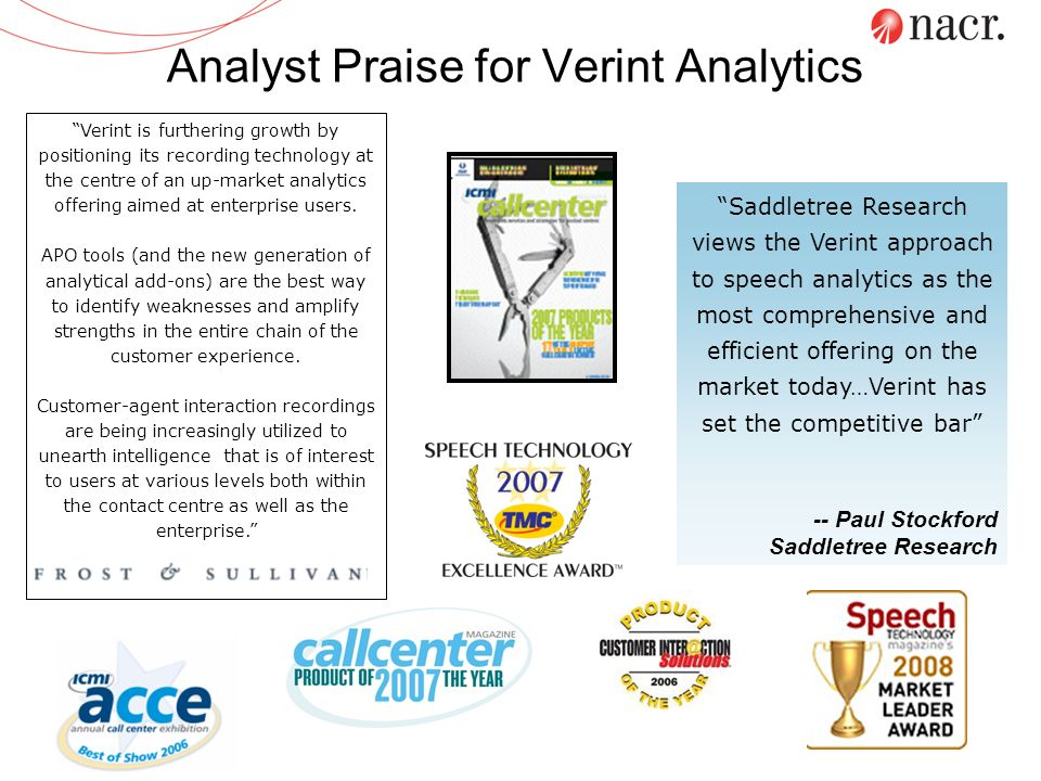 Analyst Praise for Verint Analytics