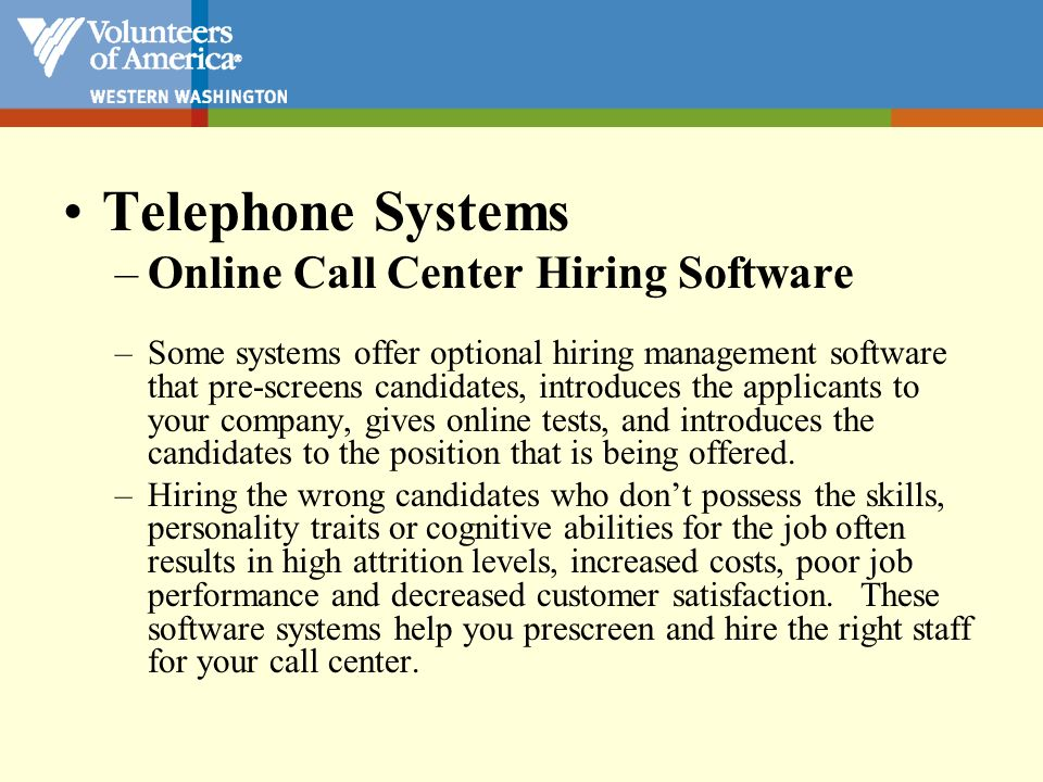 Telephone Systems Online Call Center Hiring Software