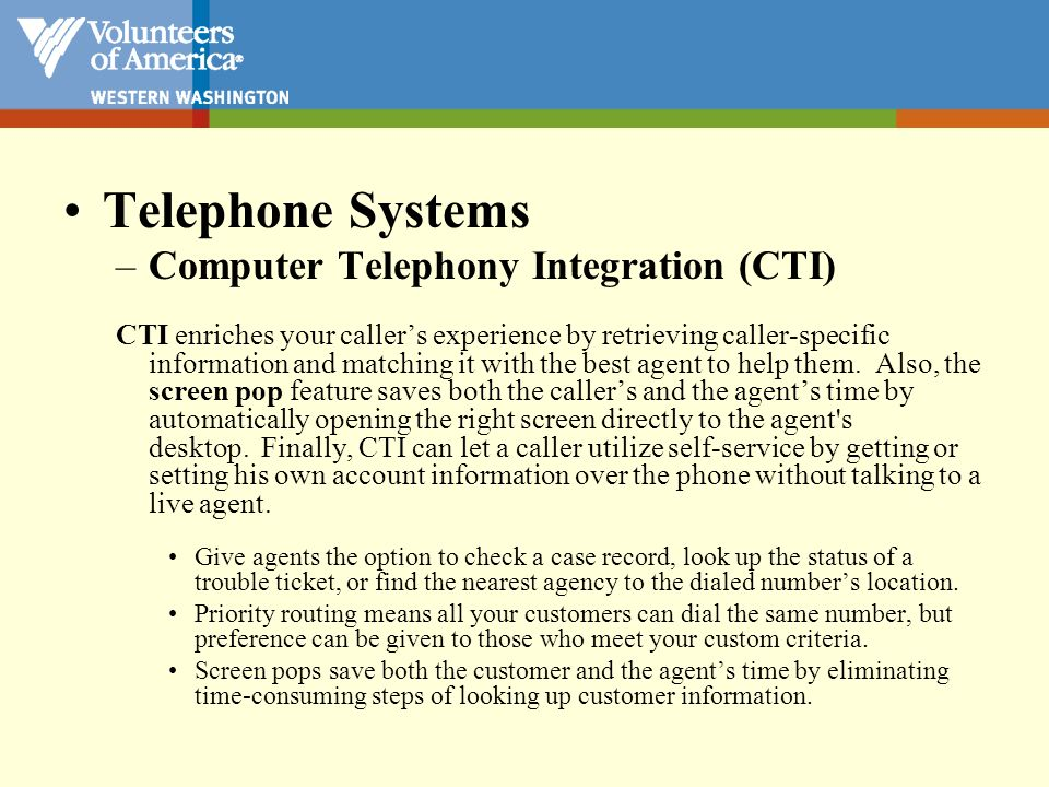 Telephone Systems Computer Telephony Integration (CTI)