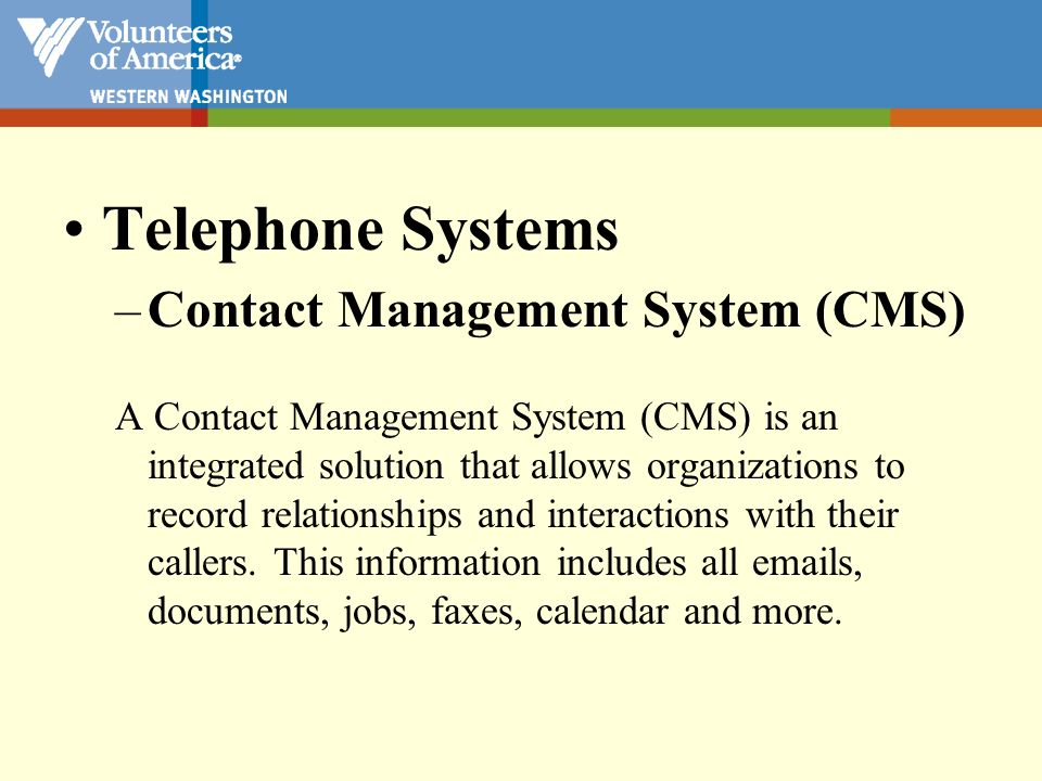 Telephone Systems Contact Management System (CMS)