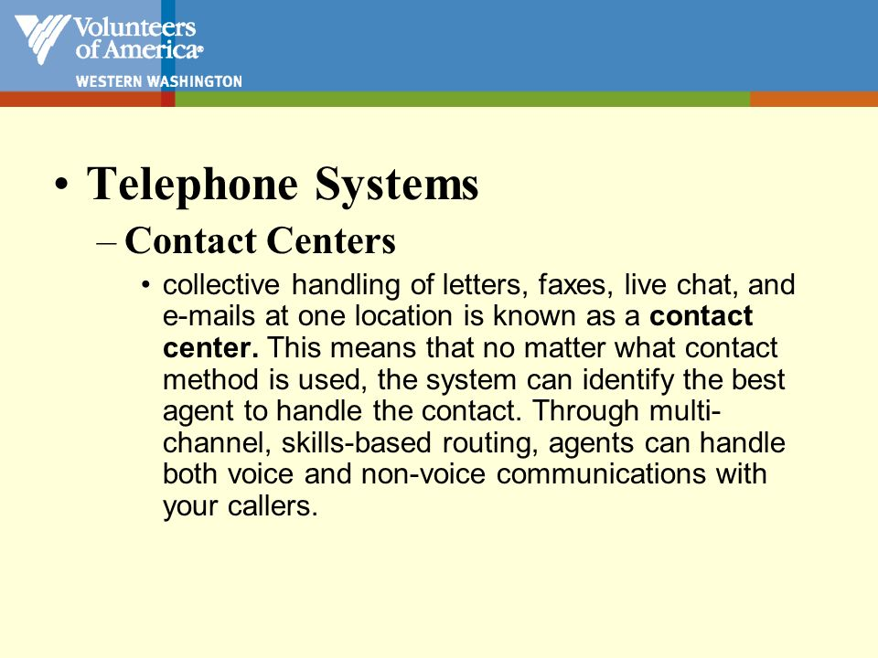 Telephone Systems Contact Centers