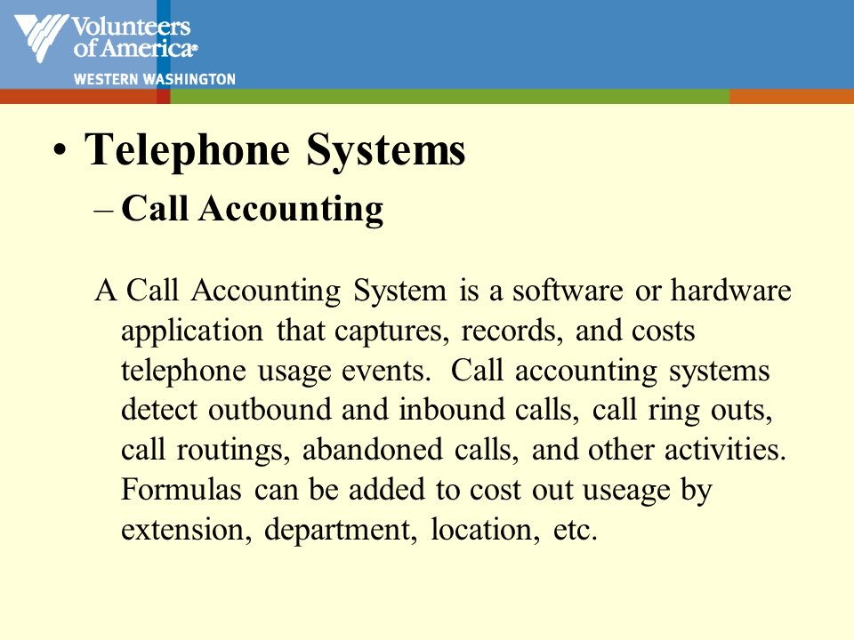 Telephone Systems Call Accounting