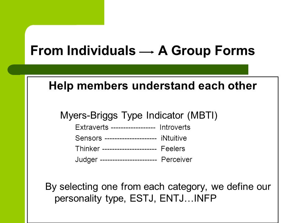 From Individuals A Group Forms