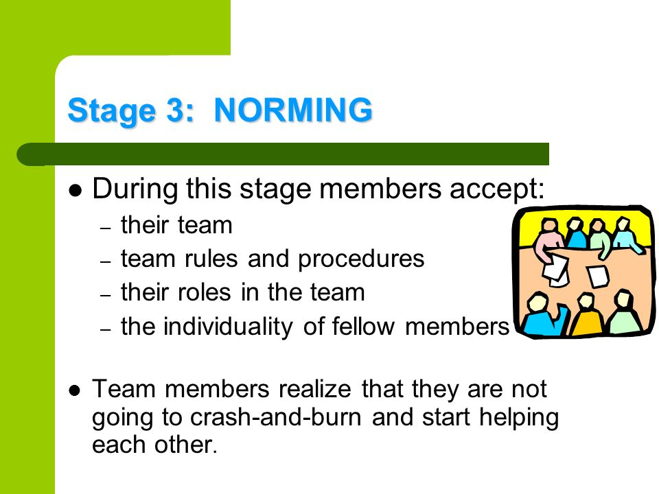 Stage 3: NORMING During this stage members accept: their team