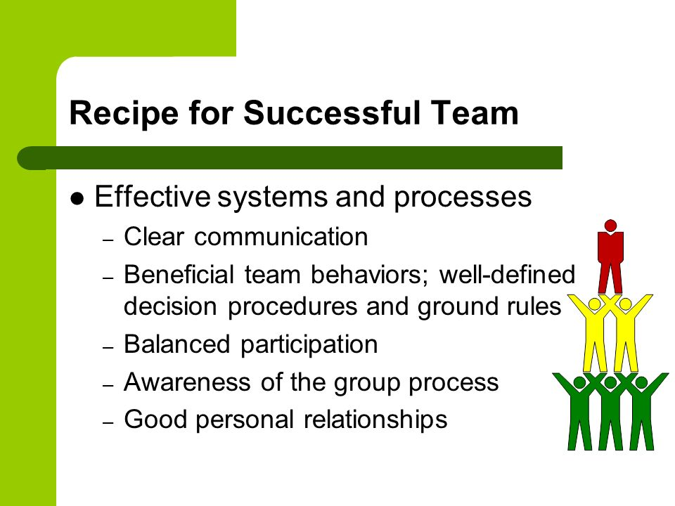 Recipe for Successful Team