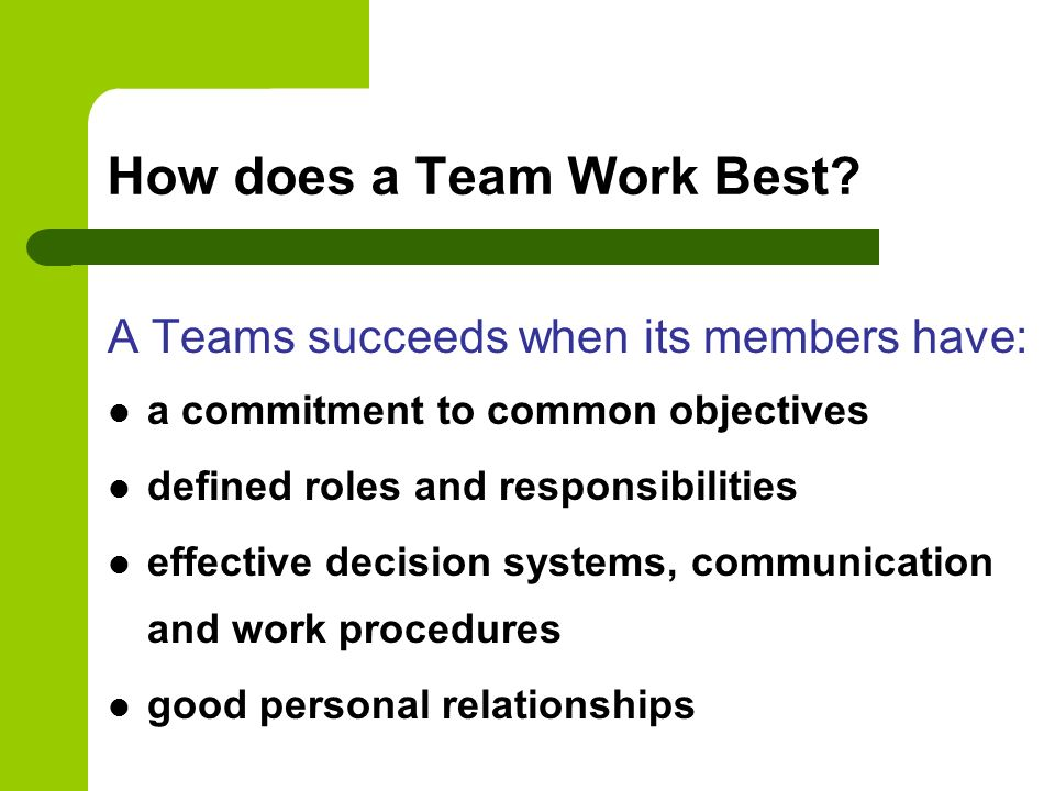 How does a Team Work Best