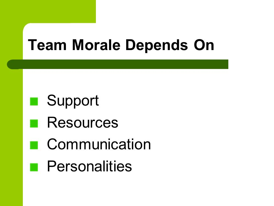 Team Morale Depends On Support Resources Communication Personalities
