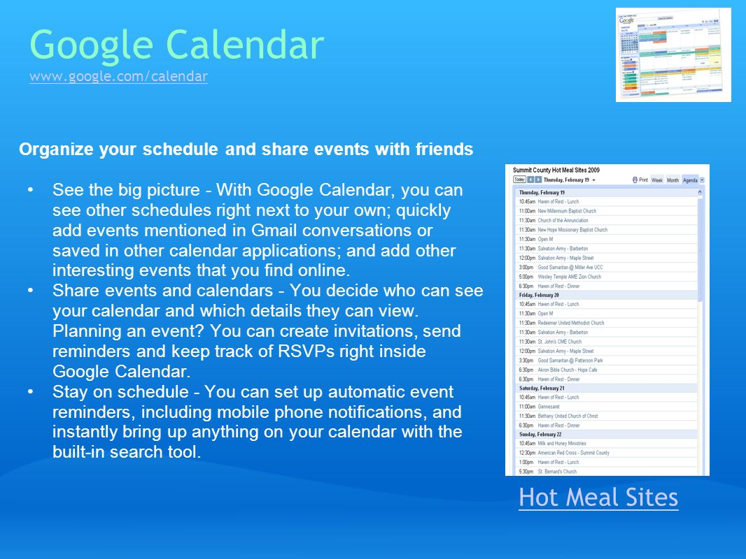Google Calendar www.google.com/calendar