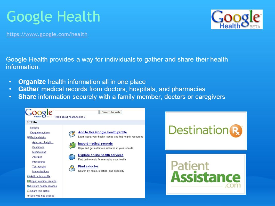 Google Health https://www.google.com/health