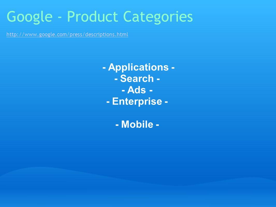Google - Product Categories http://www. google. com/press/descriptions