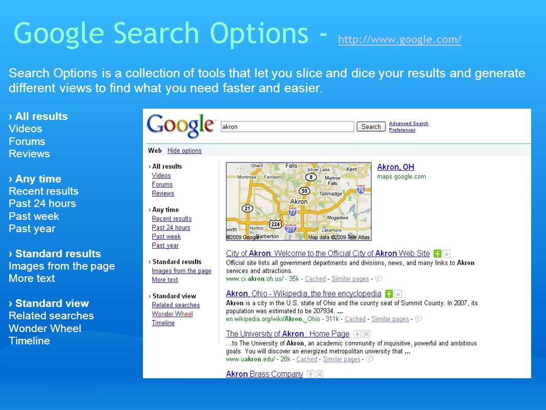 Google Search Options - http://www.google.com/