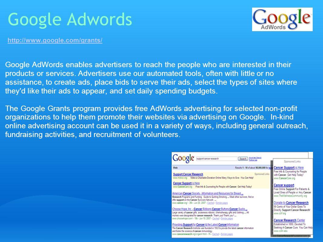 Google Adwords http://www.google.com/grants/