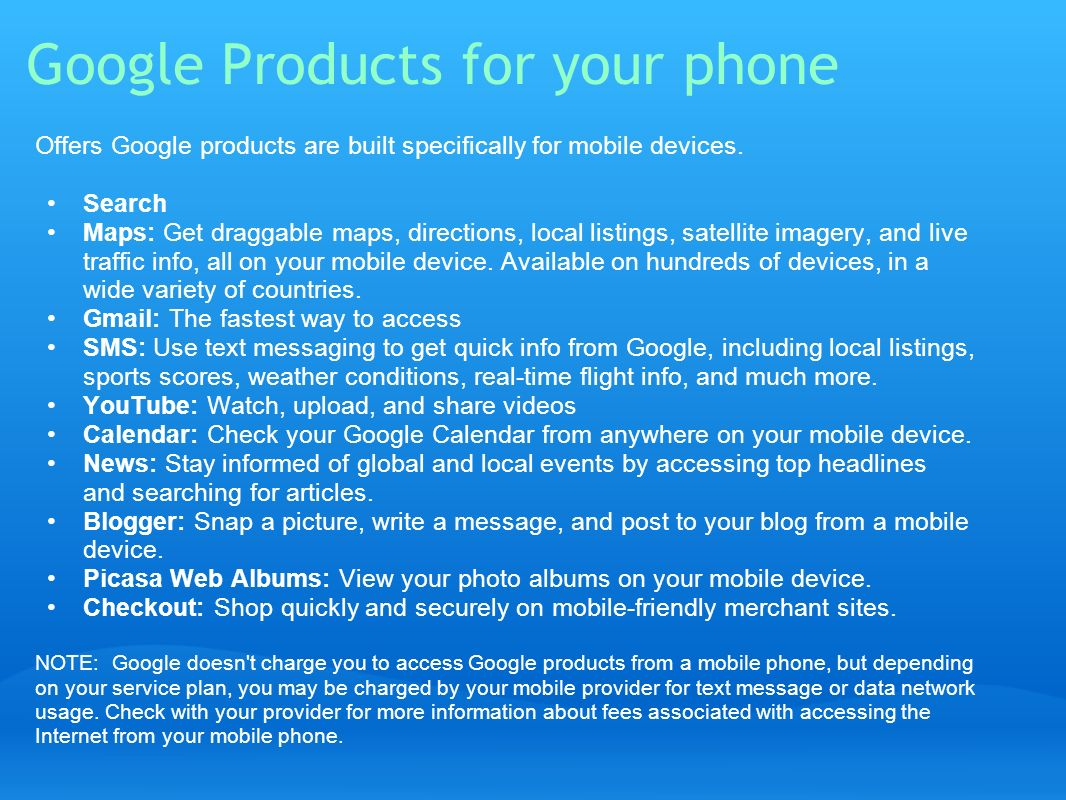 Google Products for your phone