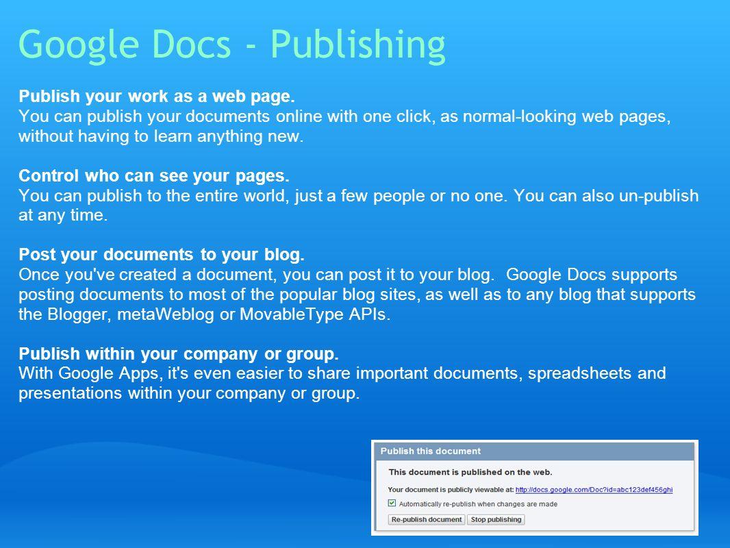 Google Docs - Publishing