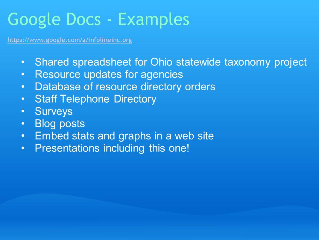 Google Docs - Examples https://www.google.com/a/infolineinc.org