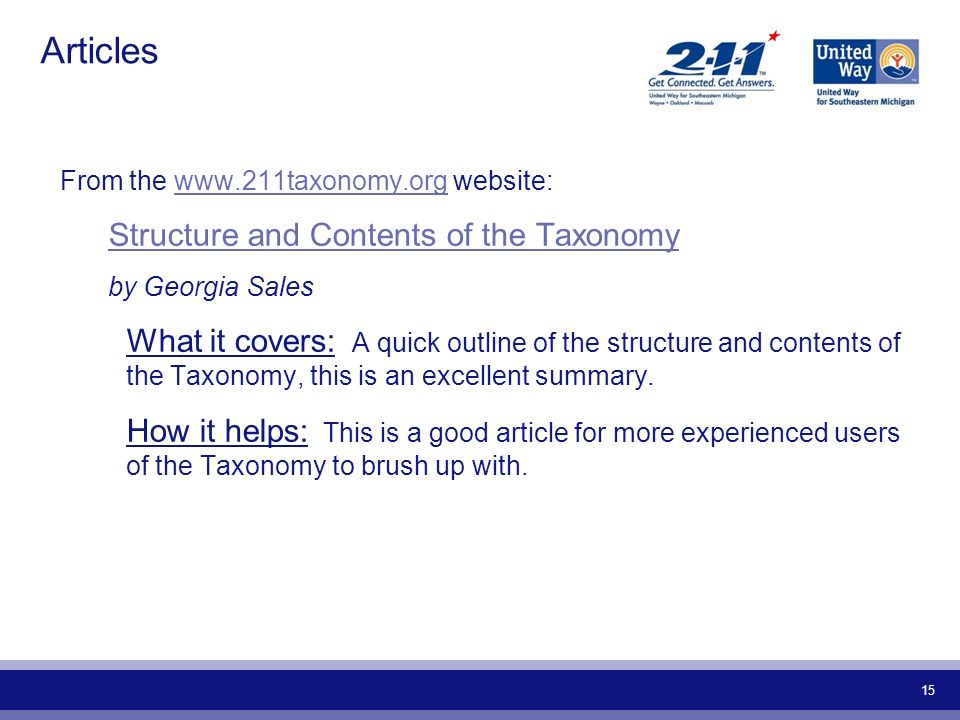 Articles Structure and Contents of the Taxonomy