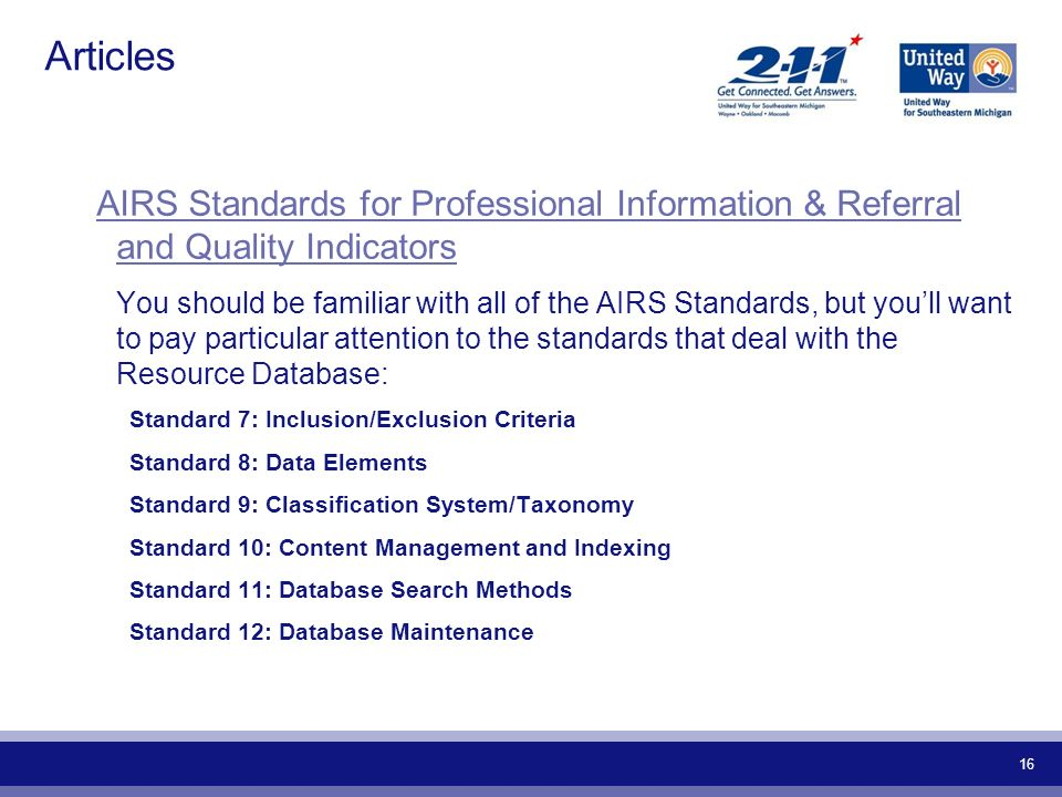 Articles AIRS Standards for Professional Information & Referral and Quality Indicators.